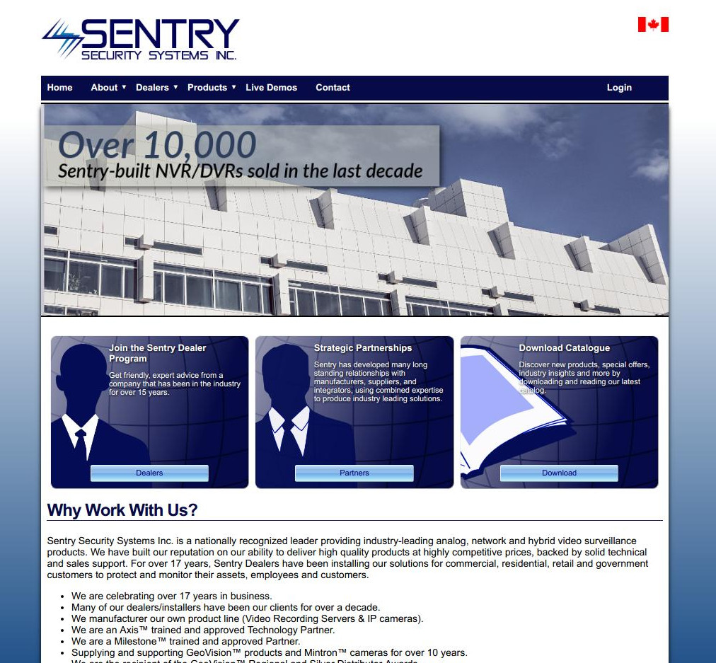Sentry Security Systems Inc. Cart, Chat, New Site